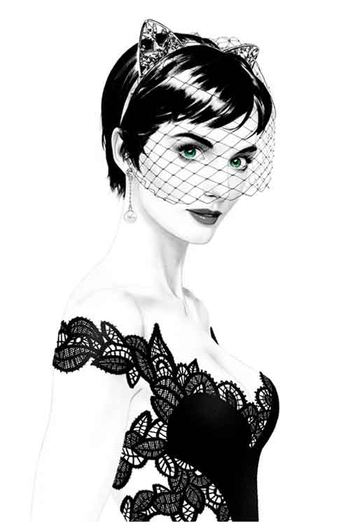 Selina Kyle Bridal Portrait B&W, Batman 50 variant by Joshua Middleton