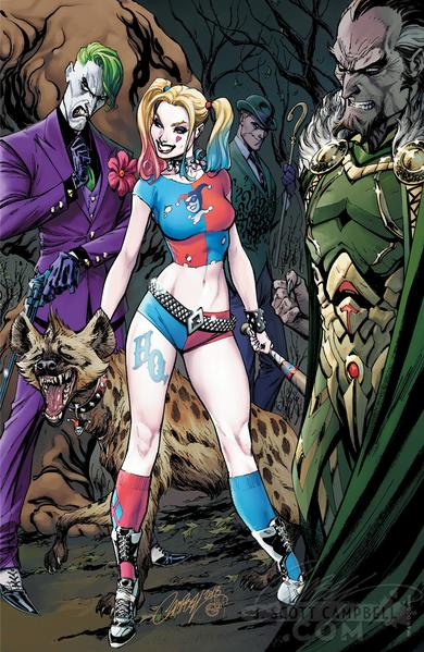 The Bride's Side, Cover E: Joker and Harley Quinn, Riddler, Ra's al Ghul and a hyena