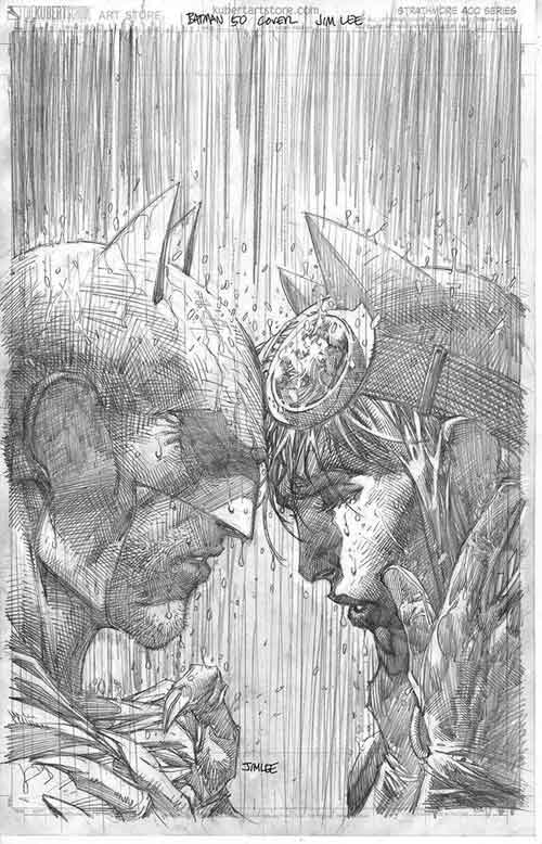 Batman 50 variant by Jim Lee, pencil sketch